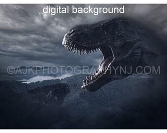 Dinosaur digital backdrop, T-Rex by gray cliff, cloudy mountains, Tyrannosaurus Rex, digital background