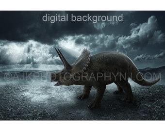 dinosaur digital backdrop, triceratops on gray terrain, mountains, gray sky, digital background