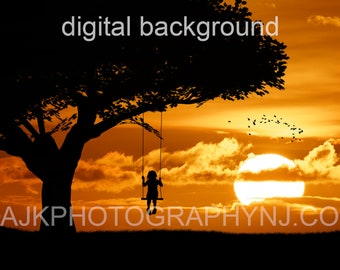 Digital backdrop, silhouette in golden sunset, single swing hanging from a large tree, digital background #3