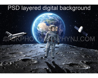 Astronaut digital background, one astronaut in outer space on the moon, with the Earth, space shuttle and satellite behind, digital backdrop