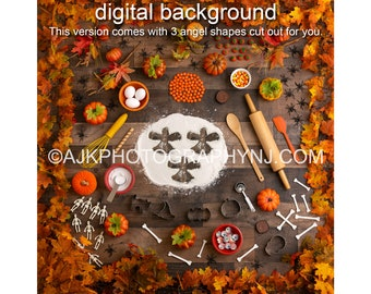 Halloween flour angel with 3 angel shapes in flour digital background