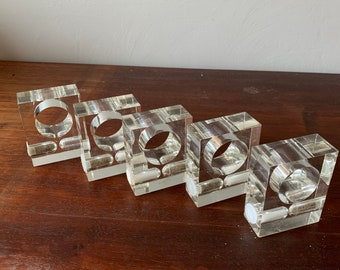 Lucite Salt and Pepper napkin rings, set of 5