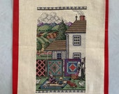 Finished Cross Stitch Piece Amish Working Aida 14 count