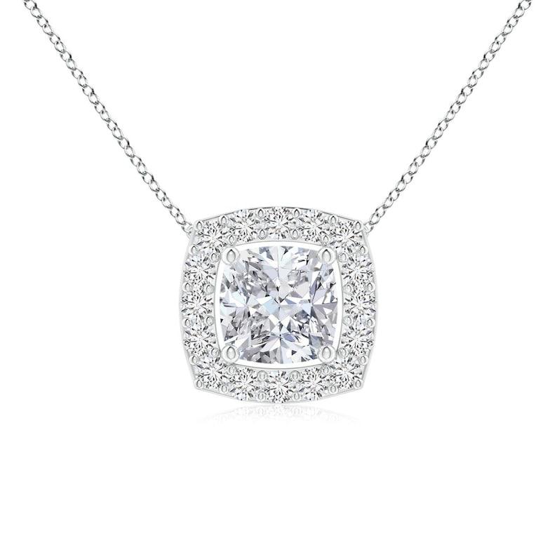 Gold Diamond Necklace 14k Gold Diamond Necklace Cushion Diamond Necklace Wedding Gift Diamond Pendant