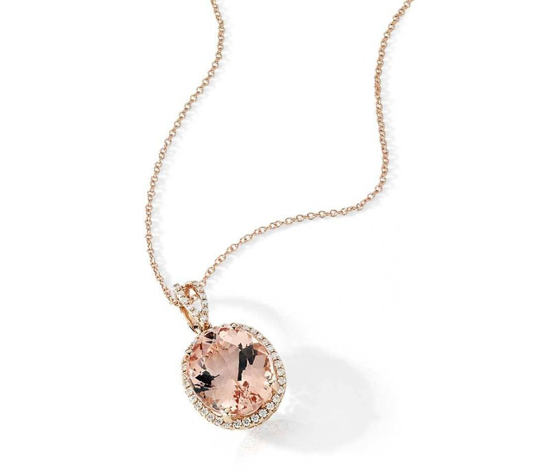 Morganite Necklace Anniversary Gift For Her Rose Gold Morganite Necklace Oval Morganite Necklace