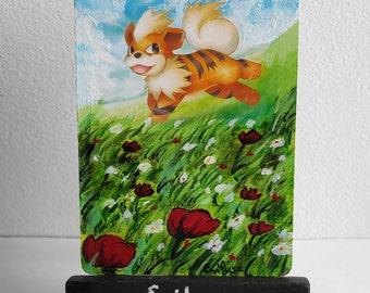 Pokemon hand painted card Caninos Growlithe