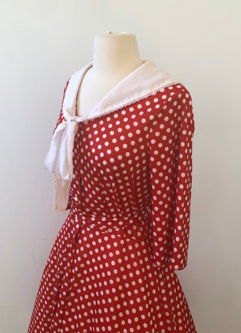 Full Circle Skirt Vintage 1950/'s1960/'s Nautical Sailor Collar Cherry Red and White Polka Dot Dress Amazing!