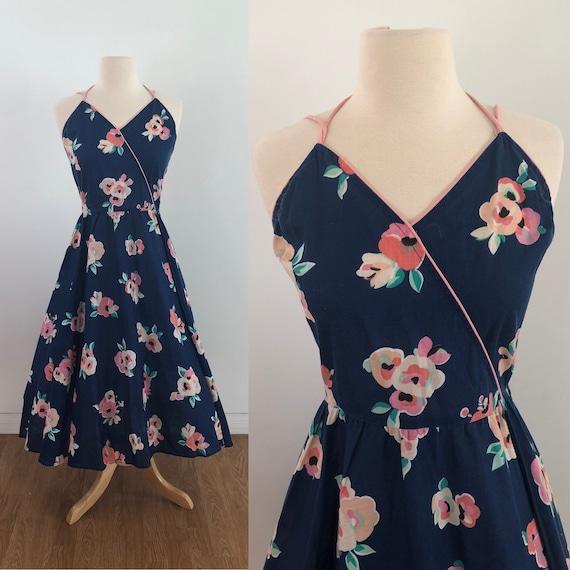 Vintage 1950's Swing Dress - Floral Rose Print - … - image 1