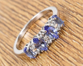 Natural Petalite and Natural Cambodian Zircon Ring UK size N