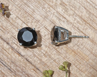 Black Spinel Stud Earrings Sterling Silver 6mm Round 2ctw Natural Untreated