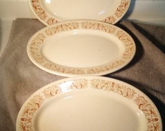 3 STERLING CHINA  -- Platters -- Restaurant Ware  -- East Liverpool Ohio - oval  -  luncheon plate  -- LAMBERTON Sterling --- free shipping