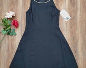 NWT 90s Jessica McClintock black rhinestone collar fit and flare dress