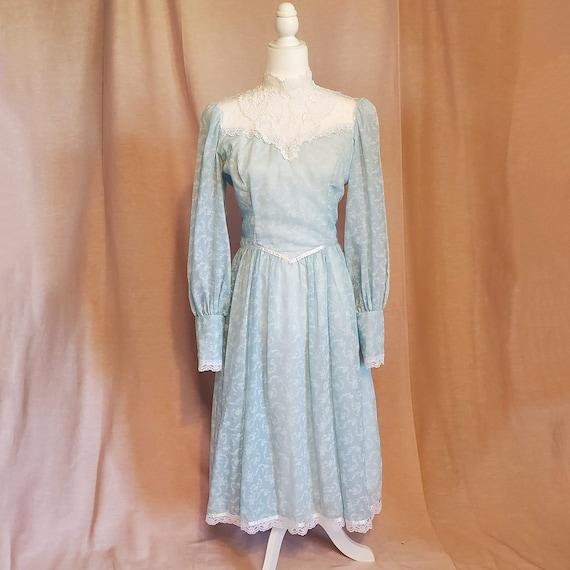 70s Jessica McClintock Gunne Sax blue calico prair