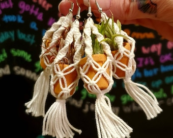 Macrame Hanging Pot Earrings .+*+. Live Air Plant .+*+. Earrings For Your Plants .+*+. Mini Terracotta Pot .+*+. Plant Moms and Plant Lovers