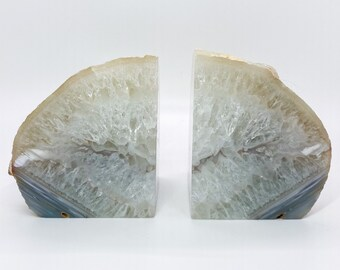 Brazilian Agate Bookends Natural Quartz Crystal Geode Book Etsy