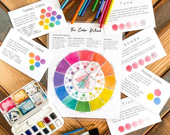 Color Wheel // Color Theory Cards // Homeschool Art Resources // Art Education // Kids Educational Activity