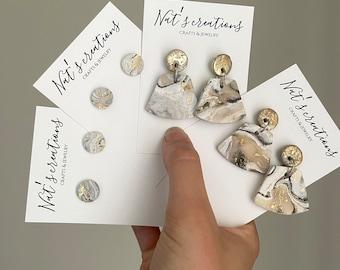 Gold marble earrings