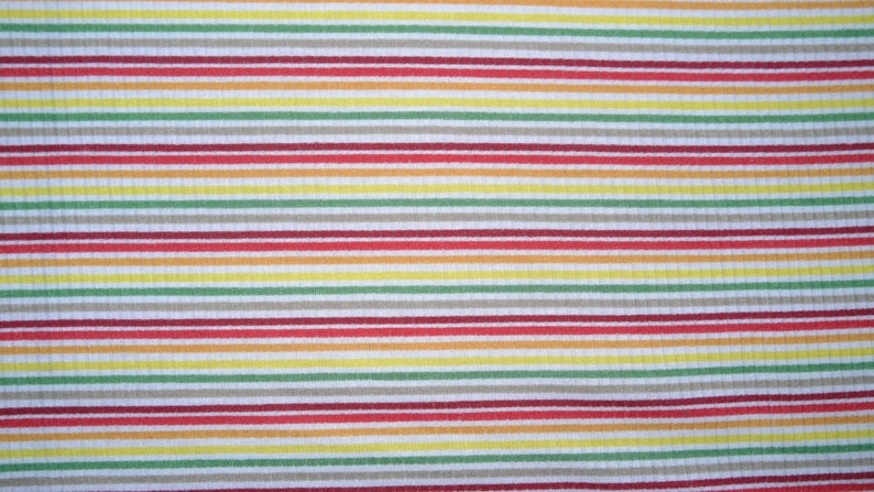 Retro Rainbow Brushed Striped Ribbed Stretch Jersey Knit Apparel Craft Fabric Rayon Poly Spandex By The Yard