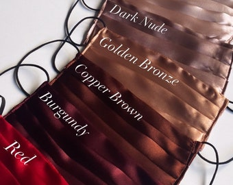 Super soft silky satin face masks made in the UK! Washable and reusable. Comfortable fit with a very stylish look.