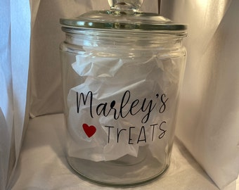 Personalized gift for dog owners, Treat Jar for dogs, Paw Print Container, Dog mom gift, Glass Container with lid