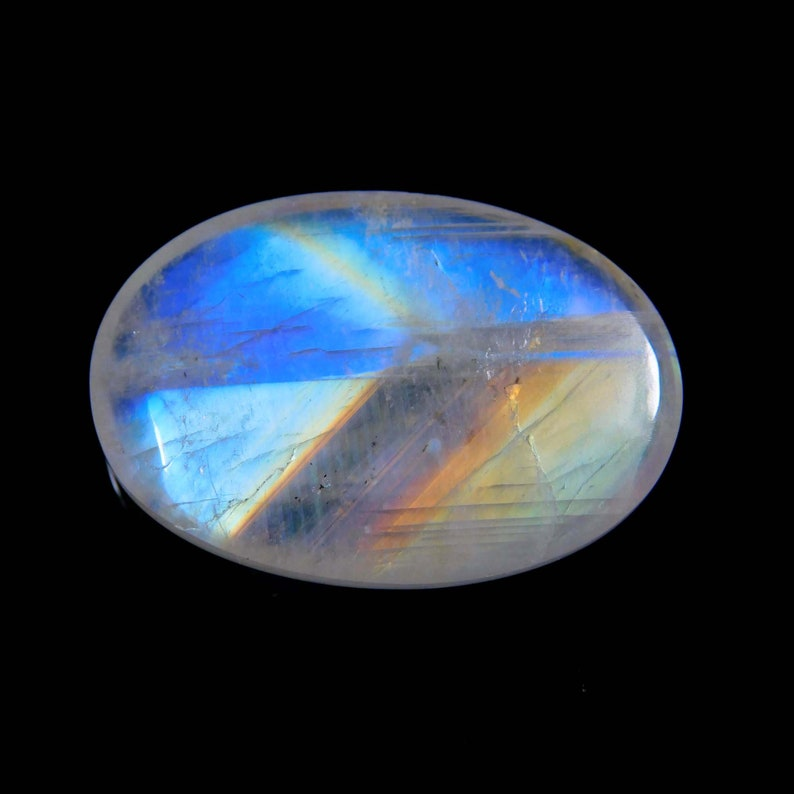 Rare Rainbow Moonstone Oval Shape Cabochon