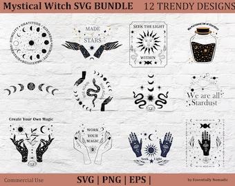 Mystical Witchy SVG Bundle,Trendy T-shirt Design Set,Witch Hands Boho Svg Clipart,Moon Phases Svg PNG,Halloween Svg Bundle,Stickers,Cricut
