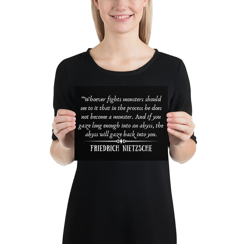 Friedrich Nietzsche Quote Poster Inspirational Quote Posters The Abyss Gazes Back Wall Art Philosophy Home Decor Minimalistic Art