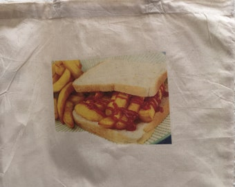 Chip Butty Gym Natural Grocery Cushion Cover Holiday Shopping Eco Friendly Canvas Bag for life Tote Laundry Travel