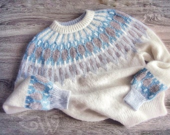 Fair Isle Icelandic sweater women in Baby alpaca /& Merino Lopi traditional Nordic ski pullover cable knitted Lopapeysa sweater handknitted