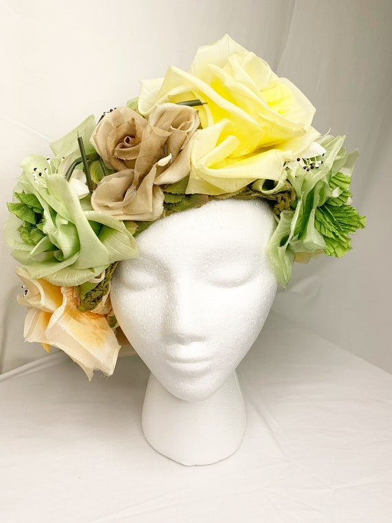 Vintage 1950s Flower / Garden Party Hat - Milliner