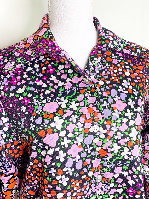 Vintage 1970s Floral Polyester Blouse - Large Coll