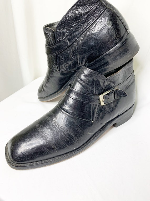 Vintage 1970s Mens Black Leather Ankle Boots With
