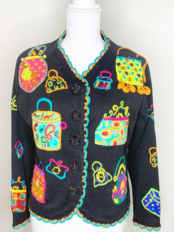 Vintage Michael Simon Cardigan - Felted Embroidere