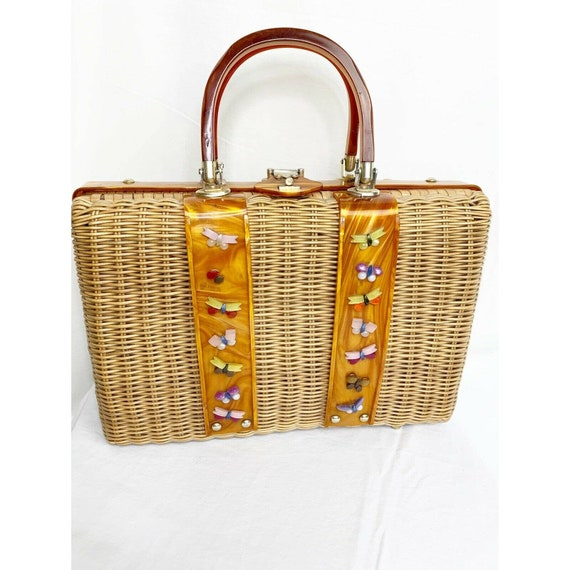 Vintage 1950s Tropic Of Miami Wicker And Lucite Ha