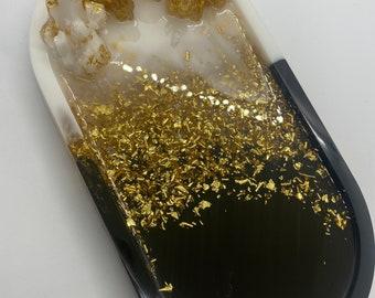 trinket tray GOLD CRYSTAL TRAY  resin coaster rolling tray jewelry dish