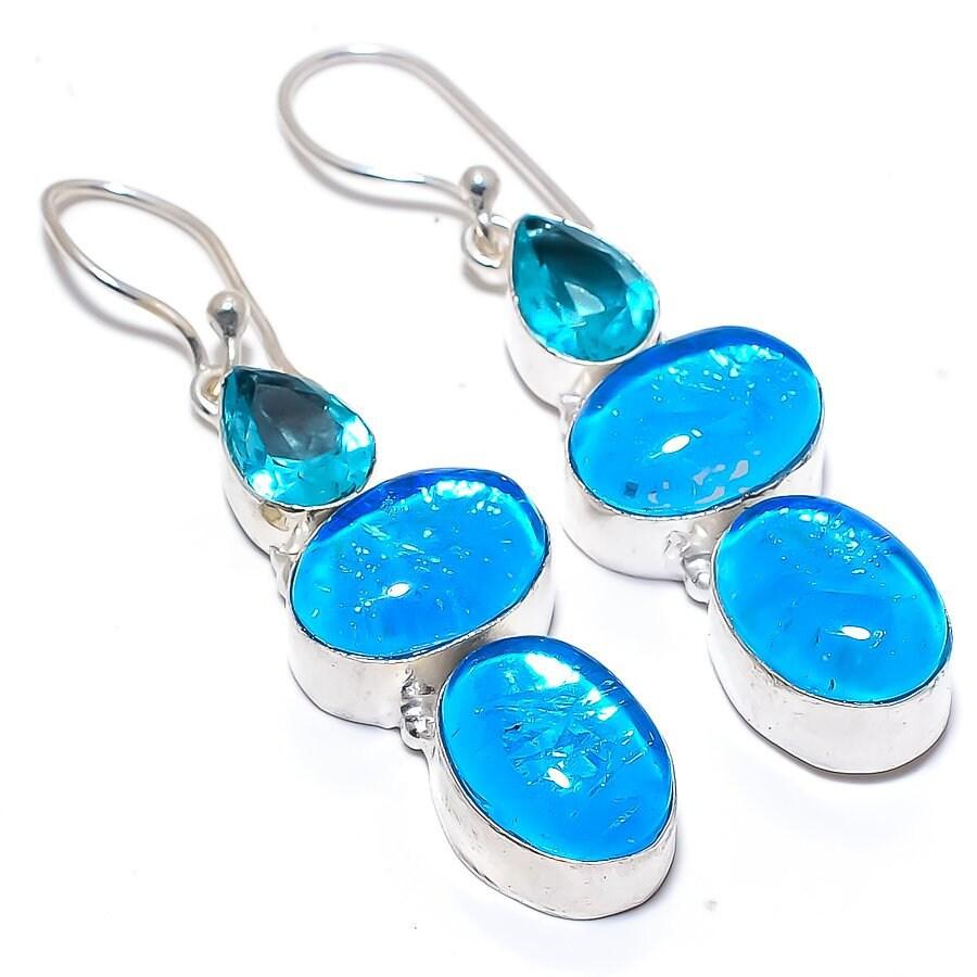 NEW Genuine Chrysocolla Tear Drop Earring,Gemstone Blue Green Artisan Earring,Pear Gem,Natural,OOAK,Sterling Silver Dangle,Boho,French Hook