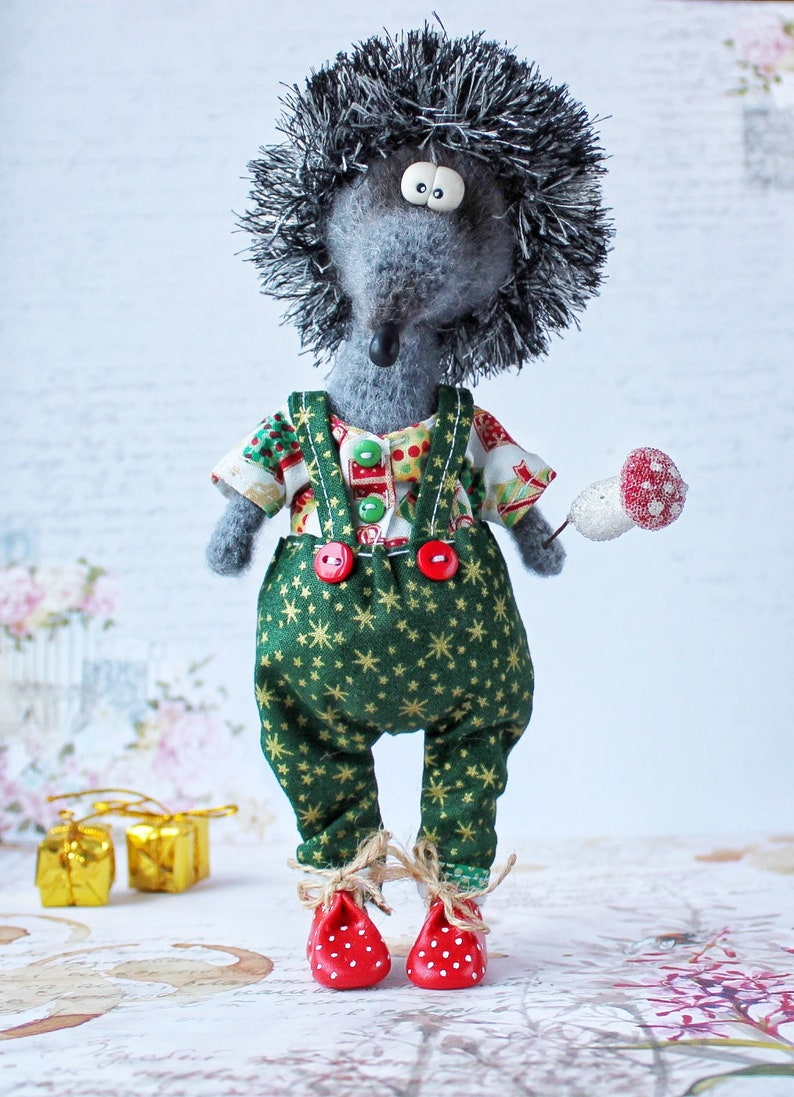 cute crochet hedgehog fluffy sculpture hedgehog gift for Christmas