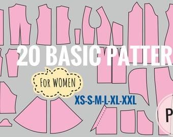 basic pdf sewing patterns for women PDF sewing patterns for women  patterns for woman   dress pattern pdf   sewing pattern Instant Download