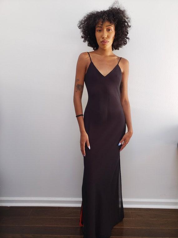 sleek sexy body-con long black dress gown maxi pro