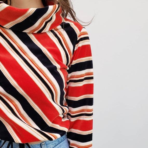 70s vintage blue red striped velour cowl neck tur… - image 3