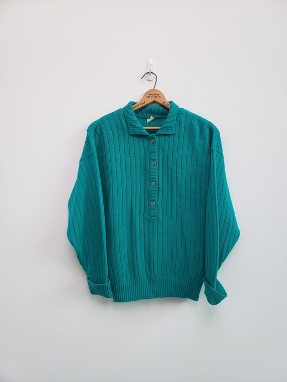 vintage wool teal ribbed pullover sweater polo col