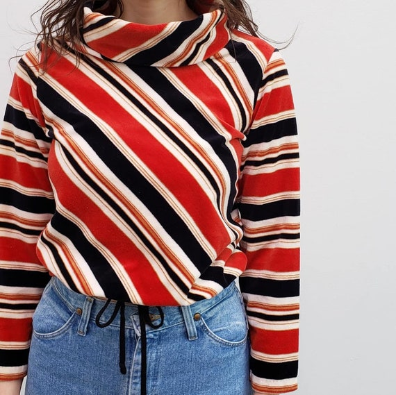 70s vintage blue red striped velour cowl neck tur… - image 2