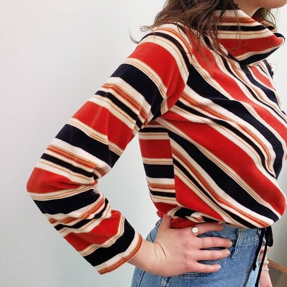 70s vintage blue red striped velour cowl neck tur… - image 4