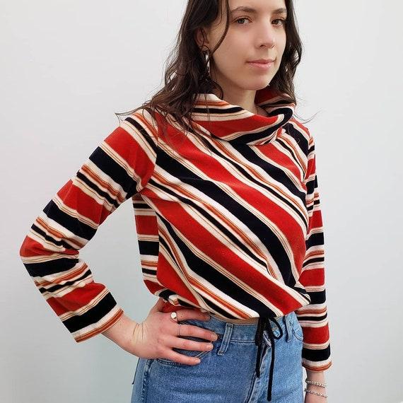 70s vintage blue red striped velour cowl neck tur… - image 1