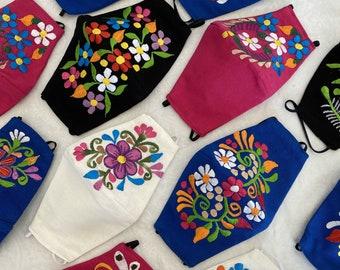 Artisan Floral Embroidered Face Mask - Beautiful Mexican Embroidery Contoured Mask - Flor Cubrebocas - Reusable Mask - Flower Design