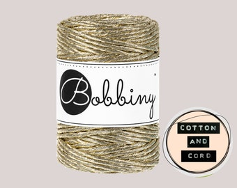 Bobbiny 3mm Regular Metallic Gold - Single Twist Cord | Rope | Macrame Cord  Yarn - RECYCLED