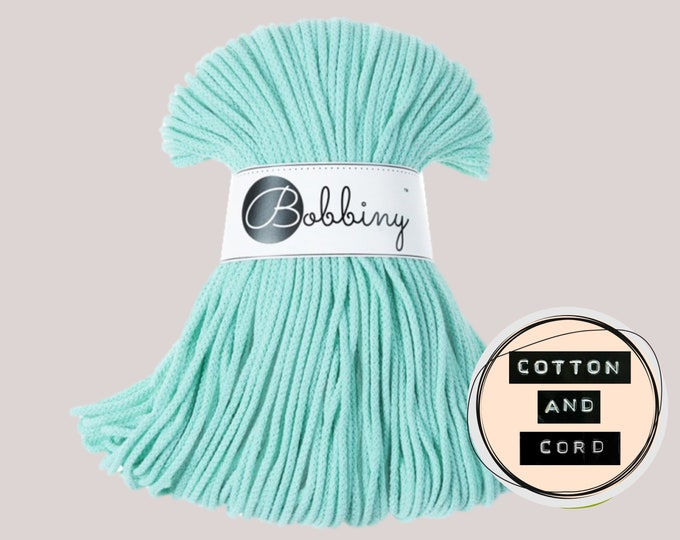 Bobbiny 3mm Mint Green Junior Cord  - 100% Recyled Cotton Cord   Rope   Macrame Cord   Yarn - Oeko-Tex Standard 100
