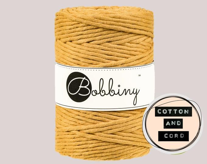 Bobbiny 5mm Mustard Yellow XXL Single Twist Cord -100% Recyled Cotton Cord   Rope   Macramé Cord   Oeko-Tex Standard 100