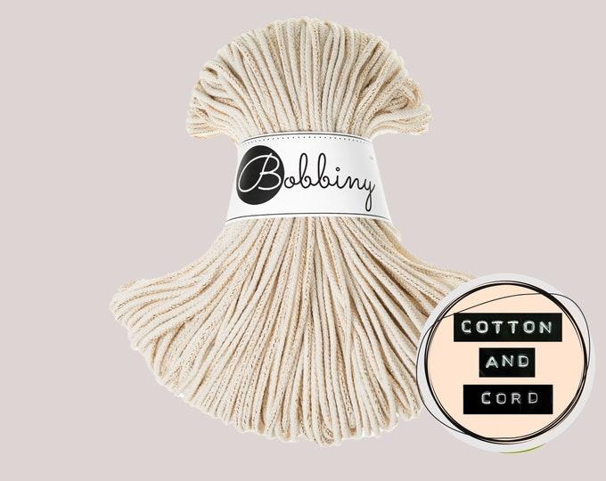 GOLDEN NATURAL Bobbiny 3mm  Junior Braided Cord  - 100% Recycled Cotton Cord   Rope   Macrame Cord   Yarn - Oeko-Tex Standard 100