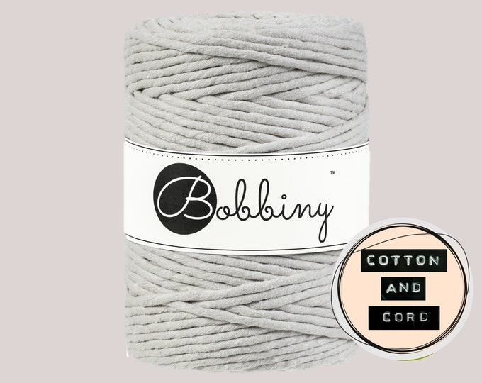 Bobbiny 5mm Beige / Neutral XXL Single Twist Cord -100% Recyled Cotton Cord   Rope   Macrame Cord   Oeko-Tex Standard 100